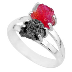 7.30cts natural diamond rough ruby rough 925 sterling silver ring size 9 r92222