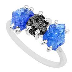 6.64cts natural diamond rough tanzanite raw 925 silver ring size 7 r92083