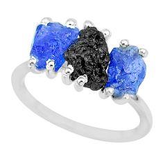 7.66cts natural diamond rough tanzanite raw 925 silver ring size 7 r92112