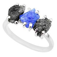8.03cts natural diamond rough tanzanite raw 925 silver ring size 7 r92142
