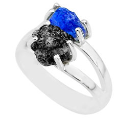 6.39cts natural diamond rough tanzanite rough 925 silver ring size 7 r92235
