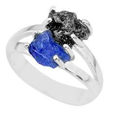 6.72cts natural diamond rough tanzanite rough 925 silver ring size 7 r92242