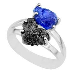 6.03cts natural diamond rough tanzanite rough 925 silver ring size 7 r92272