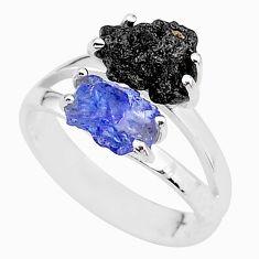 6.03cts natural diamond rough tanzanite rough 925 silver ring size 7 t4296