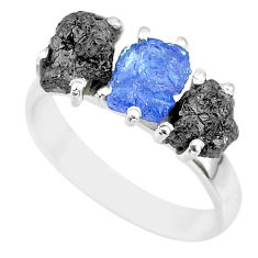 8.51cts natural diamond rough tanzanite raw 925 silver ring size 8 r92145