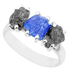 8.87cts natural diamond rough tanzanite raw 925 silver ring size 8 r92146