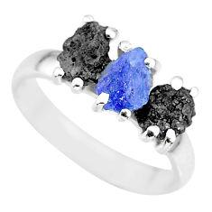 7.66cts natural diamond rough tanzanite raw 925 silver ring size 8 r92171