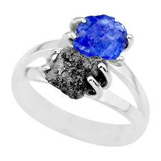5.84cts natural diamond rough tanzanite rough 925 silver ring size 8 r92291