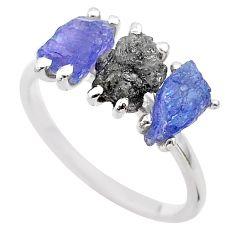 5.51cts natural diamond raw tanzanite rough 925 silver ring size 8 t29562