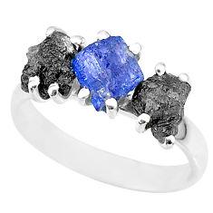8.87cts natural diamond rough tanzanite raw 925 silver ring size 9 r92154