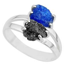 6.72cts natural diamond rough tanzanite rough 925 silver ring size 9 r92250