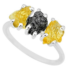 5.92cts natural diamond rough yellow citrine raw 925 silver ring size 8 r92087