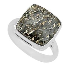 12.72cts natural dinosaur bone fossilized silver solitaire ring size 10 r95793