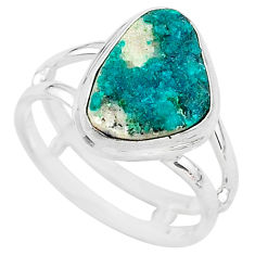 5.53cts natural dioptase 925 sterling silver solitaire ring size 8 t3337