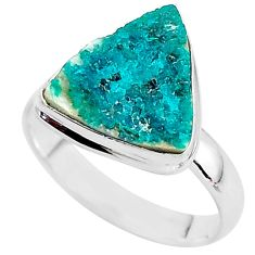 6.03cts natural dioptase 925 sterling silver solitaire ring size 8.5 t3322