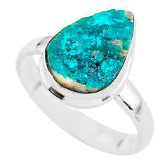 6.10cts natural dioptase 925 sterling silver solitaire ring size 9.5 t3331