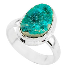 4.67cts natural dioptase 925 sterling silver solitaire ring size 5.5 t3333