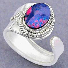 2.47cts natural doublet opal australian 925 silver adjustable ring size 5 t8716