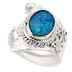 3.41cts natural doublet opal australian 925 silver adjustable ring size 7 r49730