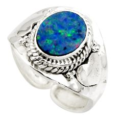 3.22cts natural doublet opal australian 925 silver adjustable ring size 7 r49731