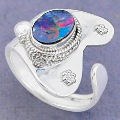 1.96cts natural doublet opal australian 925 silver adjustable ring size 7 t8682