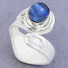 1.96cts natural doublet opal australian 925 silver adjustable ring size 7 t8687