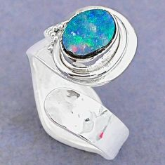 1.96cts natural doublet opal australian 925 silver adjustable ring size 7 t8689