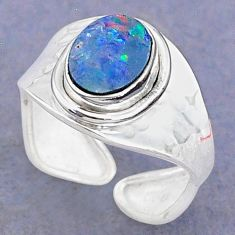 2.29cts natural doublet opal australian 925 silver adjustable ring size 7 t8692