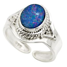 3.22cts natural doublet opal australian 925 silver adjustable ring size 8 r49726