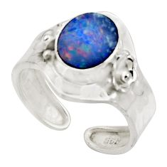 3.50cts natural doublet opal australian 925 silver adjustable ring size 8 r49737