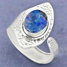 3.51cts natural doublet opal australian 925 silver adjustable ring size 8 r63394