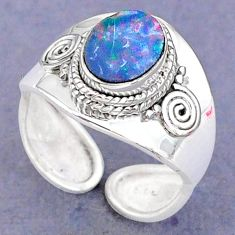 2.17cts natural doublet opal australian 925 silver adjustable ring size 8 t8683