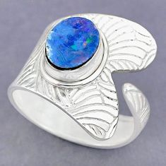 2.95cts natural doublet opal australian 925 silver adjustable ring size 9 r90507