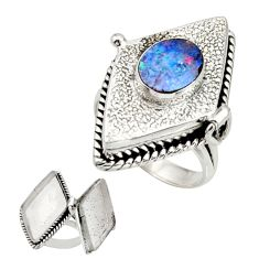 3.79cts natural doublet opal australian 925 silver poison box ring size 9 r26693
