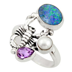 5.75cts natural doublet opal australian 925 silver scorpion ring size 7.5 d46019