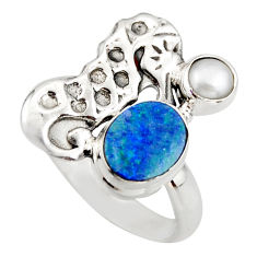 4.02cts natural doublet opal australian 925 silver seahorse ring size 8 d46031