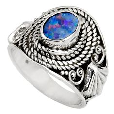 Clearance Sale- 1.46cts natural doublet opal australian 925 silver solitaire ring size 6 d39011