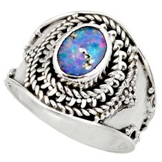 1.88cts natural doublet opal australian 925 silver solitaire ring size 7 d36127