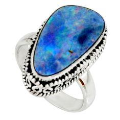 6.46cts natural doublet opal australian 925 silver solitaire ring size 7 r22713