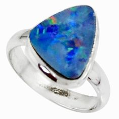 4.42cts natural doublet opal australian 925 silver solitaire ring size 7 r39242