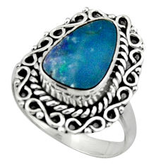 3.68cts natural doublet opal australian 925 silver solitaire ring size 7 r47331