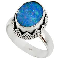 4.40cts natural doublet opal australian 925 silver solitaire ring size 7 r48405