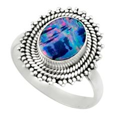 3.25cts natural doublet opal australian 925 silver solitaire ring size 7 r52471