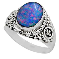 3.07cts natural doublet opal australian 925 silver solitaire ring size 7 r53332