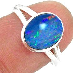 2.19cts natural doublet opal australian 925 silver solitaire ring size 7 t34496