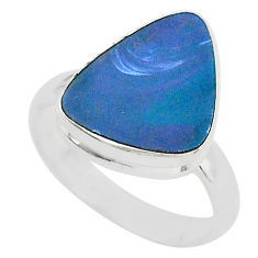 4.26cts natural doublet opal australian 925 silver solitaire ring size 7 t4217
