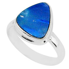 3.98cts natural doublet opal australian 925 silver solitaire ring size 7 t4226