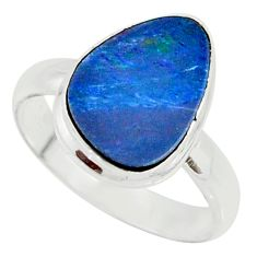 4.84cts natural doublet opal australian 925 silver solitaire ring size 8 r39251