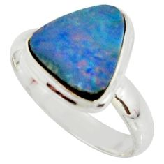 4.42cts natural doublet opal australian 925 silver solitaire ring size 8 r39277