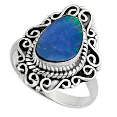 3.98cts natural doublet opal australian 925 silver solitaire ring size 8 r47312
